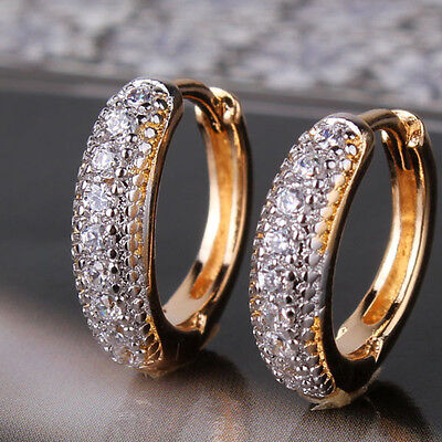 (Silver & Gold Filled Hoop Ring Pave Diamond Sapphire Women Lady Party Earrings)