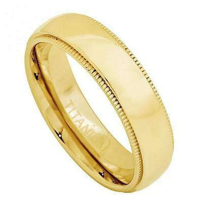Titanium Engagement Ring 5MM Yellow Gold Plated Domed Band & Milgrain (5mm Titanium Band Ring)