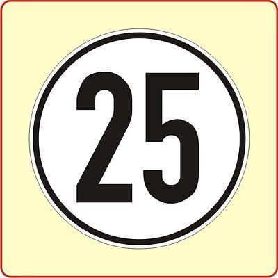 Geschwindigkeitsschild § 58 StVZO 25 km Aufkleber Autoaufkleber Sticker