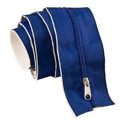 Blue 7'Ft Tarp Zip Up Zipper Door Peel & Stick Doorway 86