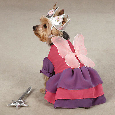 Dog Halloween Costume FAIRY PRINCESS Clothes Clothing Includes Wand Toy & Crown (Fairy Halloween Costumes For Dogs)