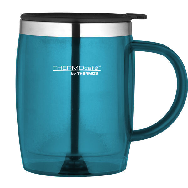 Thermos Travel Desk Mug 450ml Stainless Steel Insulated Interior Teal Pink Blue Aud