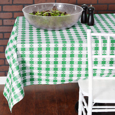 25 YARD Roll Green White Checkered Vinyl Table Cloth Cover Restaurant - Checkered Tablecloth Roll