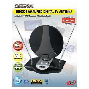 Omega 24446 Indoor UHF TV Antenna Amplified Aerial Digital Freeview DAB FM Radio