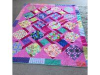 Pink twist hand made quilt