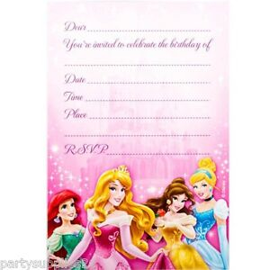 DISNEY-PRINCESS-PARTY-SUPPLIES-INVITES-INVITATIONS-PACK-OF-8