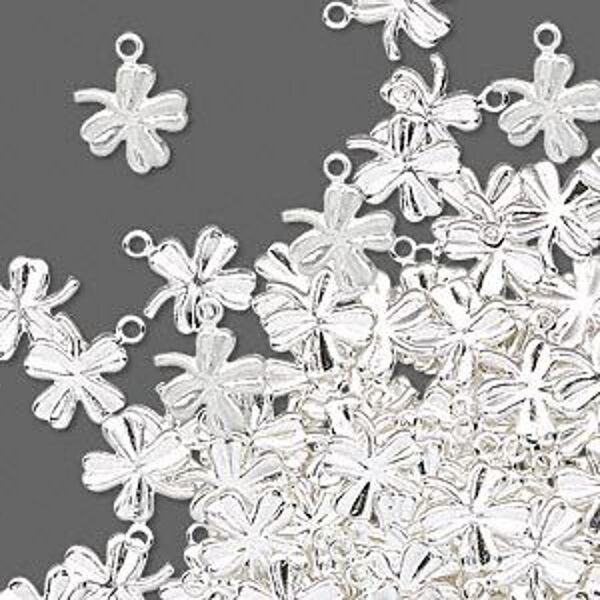 Clover Charms Shamrock Silver Pressed 4-leaf 10 x 8mm Jewelry Lot of 40