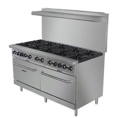 60 Commercial 10 Burner Gas Range With 2 Standard Ovens Brand New