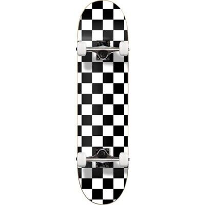Cal 7 Checker White Complete Popsicle Skateboard,8 Inch, Gifts for Skateboarder