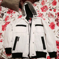 L White Canada Weather Gear Super Trippe Goose Winter Coat
