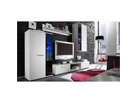 NEW!!! Modern Wall Unit SALSA Standing Cabinet / RTV Cabinet Hanging Wood/Glass Door