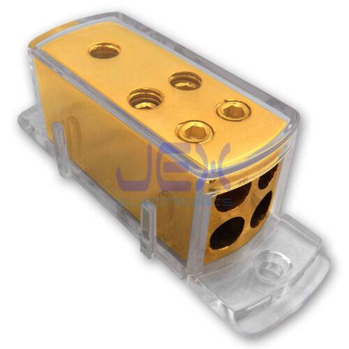 4-Way Car Audio Solar Amp Power/Ground Cable Splitter Distribution Block 4ga