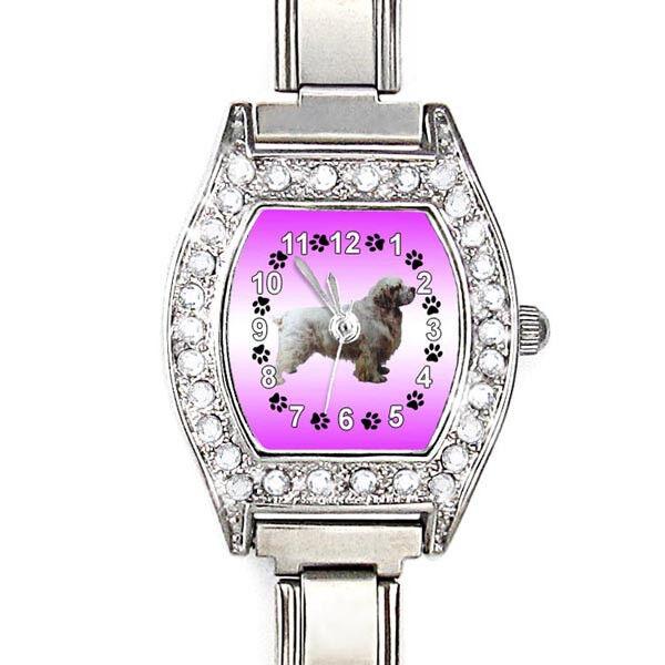 Clumber Spaniel Dog CZ Lady Stainless Steel Italian Charms Bracelet Watch BJ1096
