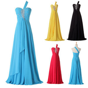 One-Shoulder-Ladies-Bridesmaid-Evening-Formal-Party-Cocktail-Prom-Ballgown-Dress