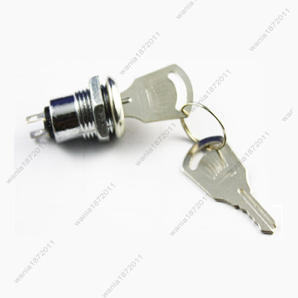 1×Mini Key Lock Switch 2 Pin SPST ON-OFF 12mm Mounting Hole With 2 Keys