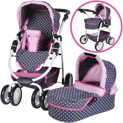 Knorrtoys Puppenwagen Coco 2in1 (Ocean Pink Dots)
