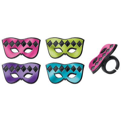 Masquerade Mask Cupcake Picks (New Mardi Gras Mask Cupcake Rings One Dozen)