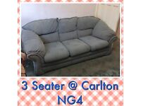 Sofa Settee Couch 3 Seater Blue