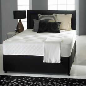 "MEMORY FOAM DIVAN BED SET + 10"" LUXURY DUAL MATTRESS+ HEADBOARD SIZE SINGLE 4FT6 DOUBLE 5FT KING"