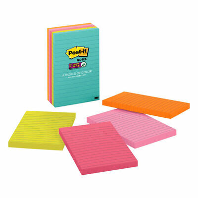 Post-it Super Sticky Notes 4 X 6 Miami Collection Lined Pack Of 5 Pads