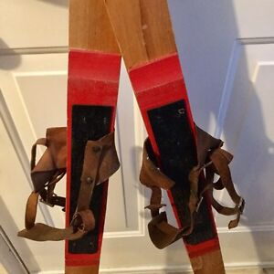 Vintage antique SKIS leather bindings/wood Canadian cabin decor  Moose Jaw Regina Area image 5