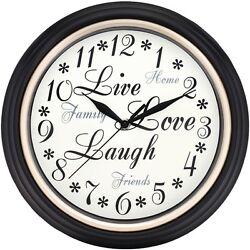 Westclox 12 Round Live Love Laugh Message Clock