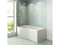 B Shaped Shower Bath Screen R1099 1400mm Height 850 870mm 6mm Glass *Price reduced*