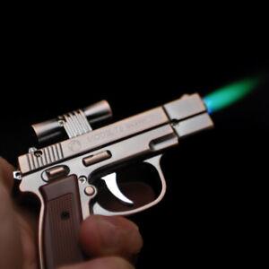 Windproof Mini Pistol Lighter Laser Pointer -1mw Gun Gas Refillable Jet Novelty