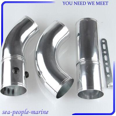 set 3 Inch Air Filter Turbo Intake Intercooler Piping Pipe Hose Aluminium silver