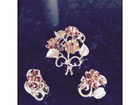 Vintage brooch and earring set ,