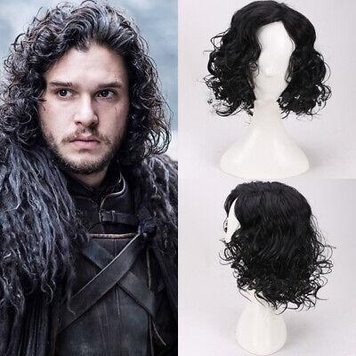 Snow Schwarz Black Locken Perücke Wig Cosplay Costume Neu (Jon Snow Perücke)
