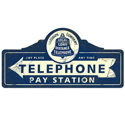 Telephone Pay Station Steel Sign Vintage Phone Home or Office Decor 26 x 12