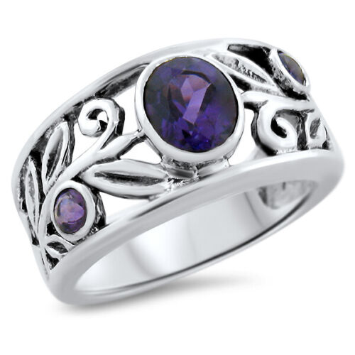 GENUINE AMETHYST 925 STERLING SILVER ANTIQUE STYLE BAND RING Jewelry SZ 5   #868