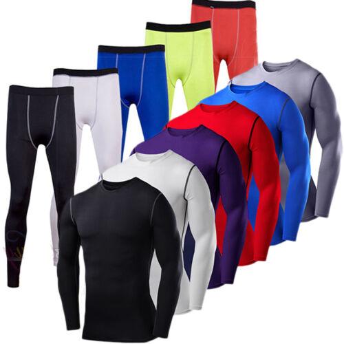 Herren Kompression Funktionsshirt Base Layer Langarm Lauf T Shirt Oberteile Hose