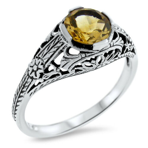 GENUINE CITRINE 925 STERLING SILVER ANTIQUE STYLE FILIGREE RING SIZE 6.75   #565