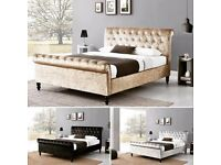 💥 Black Champagne & Silver 💥 💥 Brand New Double /King Diamond Crushed Velvet Sleigh Designer Bed