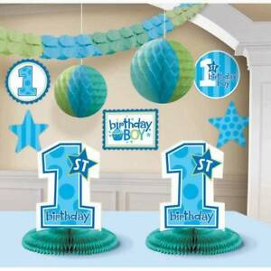 Baby Boys 1st Birthday Party Decorating Kit 10 Pieces