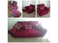 DFS 3 Seater Sofa, Reclining Chair, Swivel Chair & Footstool