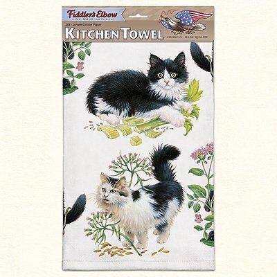 Fiddlers Elbow Kittens Towel (Fiddlers Elbow Kitchen Dish Tea Towel BLACK & WHITE KITTENS, Cats 22x32)