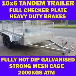 10x6 galvanised tandem box trailer with cage 70x50 chassis