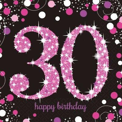 Motiv Servietten schwarz rosa Feier Tisch Deko Dekoration (30 Geburtstag Dekoration)