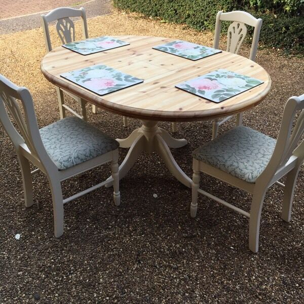 Pine table and four chairs, painted in Farrow & Ball