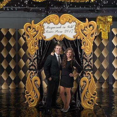 BLACK AND GOLD MASQUERADE ARCH * standee * personalized party decor