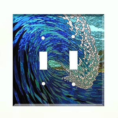 Stained Glass (paper) Ocean Wave Light Switch Plate Wall Cover Nautical Decor - Ocean Stained Glass