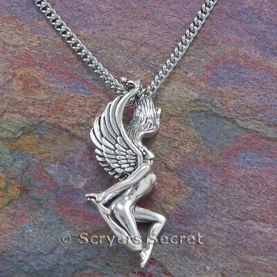 Silver Fairy Wings (925 sterling silver FAIRY Nude Charm Pendant Necklace wings hair)