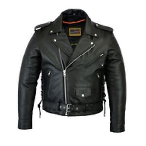 Men's Classic Side Lace Police Style M/C Jacket SKU: DS731