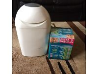 Tommee tippee nappy bin and 3 refill cassettes