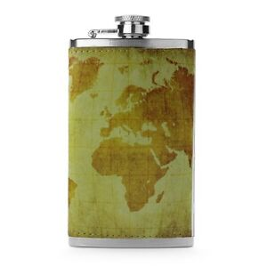 Leather-Wrapped-6oz-Stainless-Steel-Hip-Flask-FSK85-World-Map