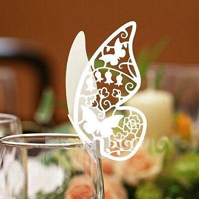 N.100 farfalle Segnaposto BIANCA PERLATA segnabicchiere matrimonio segnatavolo