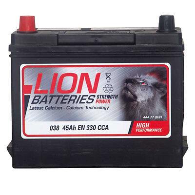 038 038 Car Battery 3 Years Warranty 45Ah 330cca 12V L239 x W133 x H200mm Lion